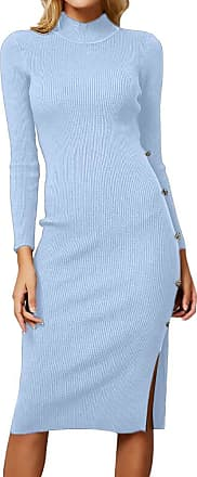 FNKDOR Women Winter Casual Solid Sexy Long Sleeve Solid Button Knitted Sweater Pullover Dress(Blue,Free )