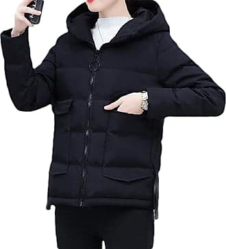 VITryst Womens Hooded Zipper Long Sleeve Thickened Loose Short Jacket Down Overcoats Tops,Black,X-Large