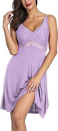 Dessous-Kleid lila schwarz Spitze Negligé Negligee Nachthemd mini 3XL 4XL