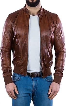 Leather Trend Italy Bomber Maverick - Giacca Uomo in Vera Pelle colore Cuoio Oil Vintage