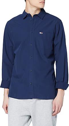 Tommy Jeans Mens TJM Solid Poplin Shirt Casual, Blue (Black Iris 002), X-Large
