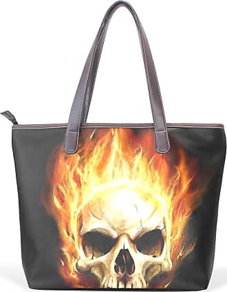 NaiiaN Leather Skull Flame Dark Cool Tote Bag Sweet Shoulder Bags Light Weight Strap Purse Shopping Handbags for Women Girls Ladies Student