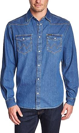 Wrangler Mens Classic Western Long Sleeve Classic Regular Fit Shirt, Mid Indigo, XXX-Large