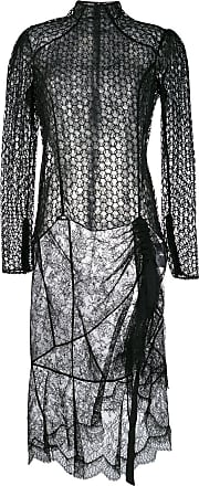 Olivier Theyskens Vestido de renda translúcida - Preto