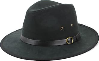 New CTM Men/'s Suede Fedora Hat with Leather Trim
