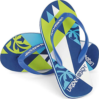 Urban Beach Mens Harlequin FW550 Beach Sandals Flip Flops Shoes (Size 8, Blue/Green)