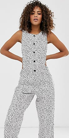 Asos Tall ASOS DESIGN Tall sleeveless button front boilersuit in animal print-Multi