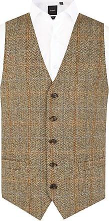Dobell Scottish Harris Tweed Mens Brown Tweed Waistcoat Regular Fit Windowpane Check-2XL (50-52in)