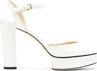Jimmy Choo London Peachy 105 Lizard Effect-leather Platform Sandals - Womens - White