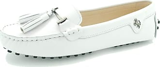MGM-Joymod Womens Comfortable White Leather Tassel Buckle Driving Outdoor Walking Casual Flats Slip-on Loafers Boat Shoes 6.5 M UK