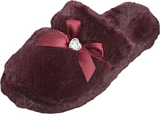 Forever Dreaming Womens Mule Slippers | Memory Foam Diamante | Sizes 3-8 | Faux Fur Slip On Burgundy