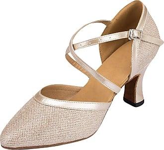 Insun Women Sparkly Dance Shoes Latin Ballroom Dancing Wedding Shoes Champagne 5cm Heel 3.5 UK