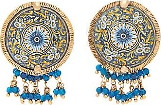 Rosantica Sicilia Beaded Tile Clip Earrings - Womens - Blue Multi