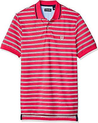 f2500466111 Chaps Mens Classic Fit Striped Cotton Mesh Polo Shirt, Sport Pink Multi, L