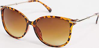 Warehouse metal arm cateye sunglasses in tortoiseshell-Brown
