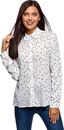 oodji Womens Straight-Fit Viscose Blouse, White, UK 4 / EU 34 / XXS