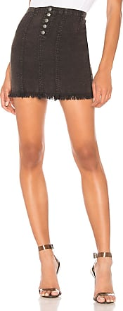 Chaser Button Front Frayed Mini Skirt in Black