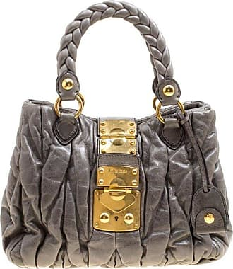 cc9541c40be4 Miu Miu Miu Miu Grey Matelasse Leather Coffer Two Way Top Handle Bag