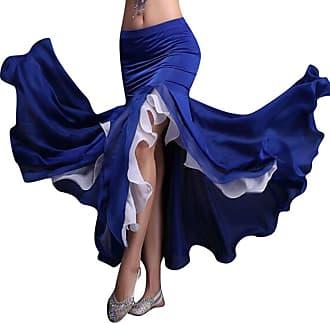 YiJee Womens Dancewear Belly Dance Skirt Side Slit Double Color Maxi Skirts Dark Blue