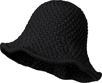 Ililily Chunky Knitted Floppy Round Top Wired Brim Fedora Feminine Bucket Hat, Black