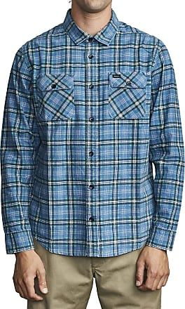 """RVCA /""""Reverberation/"""" Long Sleeve Flannel Shirt Navy Marine Plaid Button Up"""