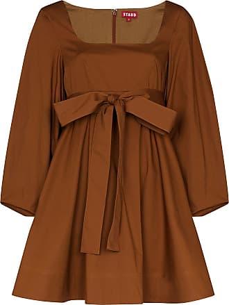 Staud Vestido Isabella decote em U de algodão - Marrom
