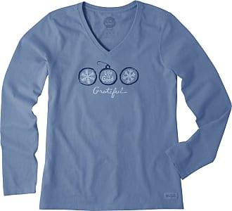 Life is good Womens Grateful Snowflakes Long Sleeve Crusher Vee XS Vintage Blue