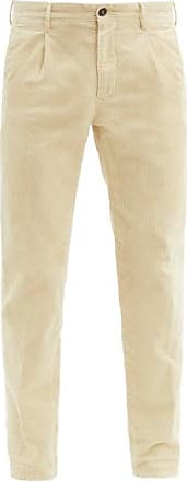 Incotex Pleated Cotton-blend Corduroy Tapered Trousers - Mens - Cream