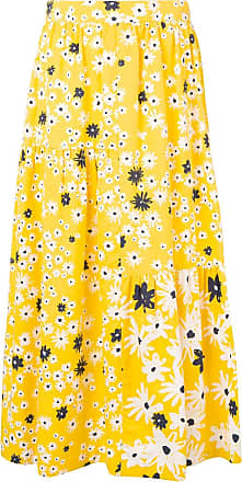 Chinti and Parker Saia midi floral com babado - Amarelo