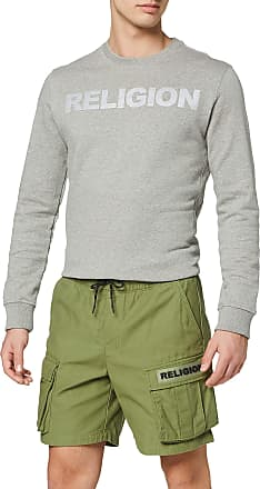 Religion Mens Damage Cargo Shorts, Green (Khaki 080), W37 (Size:XL)