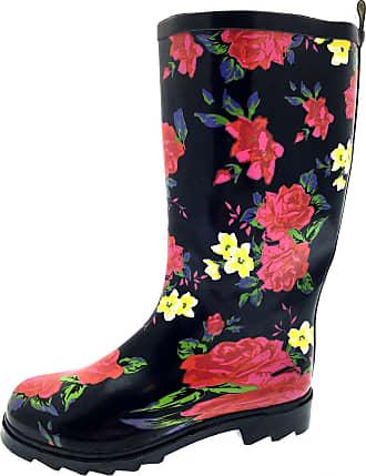 Lora Dora Womens Knee Length Wellington Boots, Black Floral Print, 6 UK
