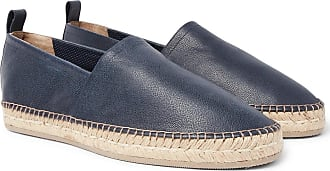 Brunello Cucinelli Pebble-grain Leather Espadrilles - Navy