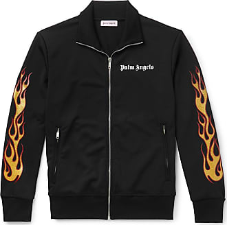 Palm Angels Slim-fit Glittered Printed Tech-jersey Track Jacket - Black