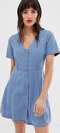 Asos Vestito da giorno di jeans blu con bottoni in finto corno lavaggio medio