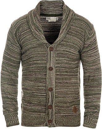 Solid Mervin Mens Cardigan Chunky Knit Jacket with Shawl Collar Made of 100% Cotton, Size:XL, Colour:Duffel Bag Green (3590)