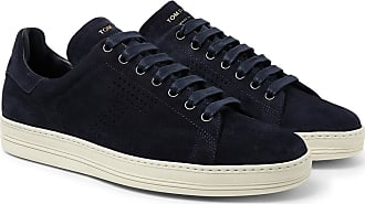 Tom Ford Warwick Perforated Suede Sneakers - Midnight blue
