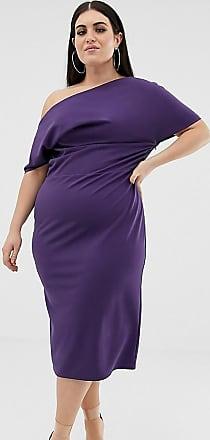 Asos Curve ASOS DESIGN Curve - Vestito longuette con pieghe sulla spalla-Viola
