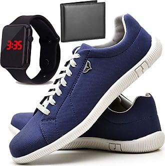 Juilli Kit Sapatênis Sapato Casual Com Relógio LED e Carteira Masculino JUILLI 900DB Tamanho:38;cor:Azul;gênero:Masculino