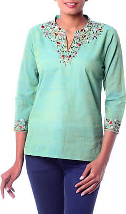 Novica Cotton blouse, Cool Garden - Artisan Crafted Floral Cotton Solid Tunic Top