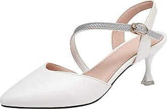 Mediffen Women Ankle Strap Pointed Toe Dress Bride Wedding Sandals Kitten Heels Ladies Elegant Evening Sandals Party Bridal Shoes White Size 37 Asian