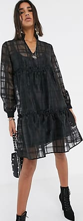 Object oversized organza tiered smock dress-Black