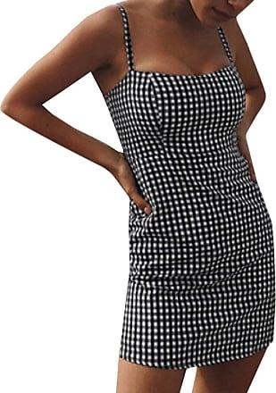Abetteric Vestido túnica xadrez com alças finas e ajuste slim, Preto, Medium