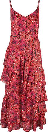 Borgo De Nor Vestido Coco com estampa leopardo e babado - Vermelho
