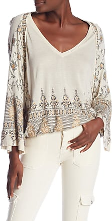 Free People Womens Ivory Printed Bell Sleeve V Neck Tunic Top Size: S
