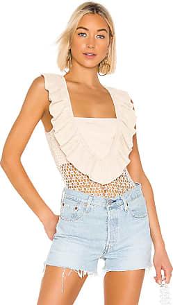 Kendall + Kylie Crochet Ruffle Jersey Bandeau Bodysuit in Beige