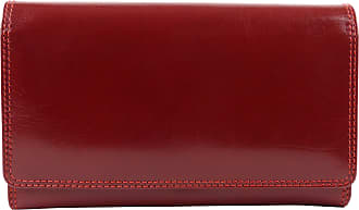 Visconti Ladies Italian Leather Clasp Purse/Wallet Monza Collection Classic Gift Boxed (Red)