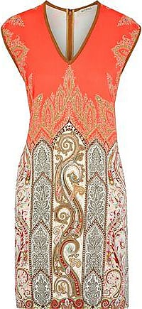 Etro Etro Woman Printed Stretch-cady Mini Dress Coral Size 44
