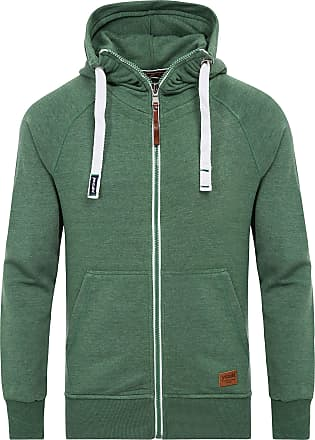 Yazubi Mens Full Zip Midweight Hooded Jacob - Men Vintage Forest Sweatshirts Hoodie, Green (Myrtle Green 186114), XS