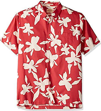 Quiksilver Waterman Mens Waikiki Nights Button Down Shirt, Cardinal WIKIKI, XL