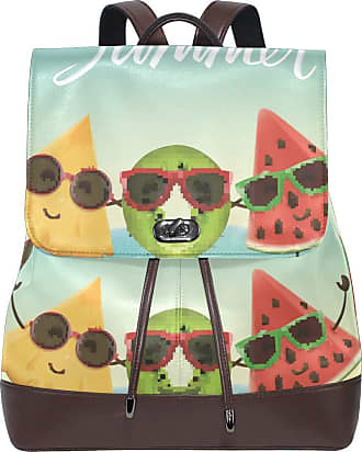 Ahomy Ladies Fashion PU Leather Backpack Summer Cartoon Watermelon Kiwi And Pineapple Anti-Theft Rucksack Shoulder Bag